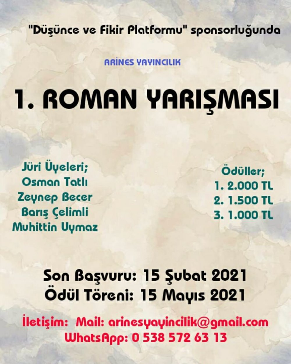 Arines Yayıncılık 1. Roman Yarışması