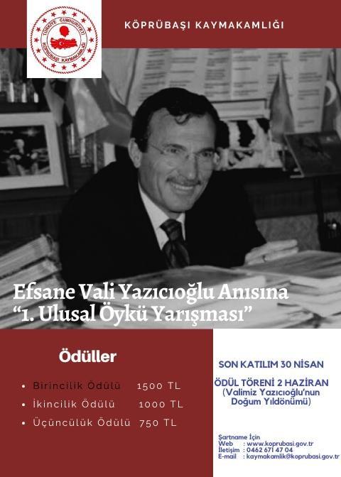 Efsane Vali Yazıcıoğlu Anısına 1. Ulusal Öykü Yarışması