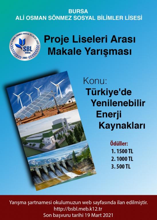 Türkiye'de Yenilenebilir Enerji Kaynakları Makale Yarışması